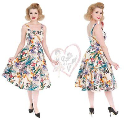 87682fab5dbe0 Hearts & Roses Retro Mix Pansies Floral Blossom Rockabilly 50s Swing Pinup  Dress