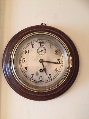 """Antique 6.5"""" Dial Wall School /Station Ships Clock 8 Day Working Order"""