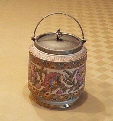 Antique Taylor, Tunnicliffe & Co. Biscuit Jar with Silver Plated Lid
