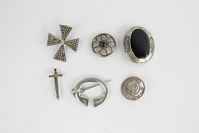 6 x Vintage .925 STERLING SILVER Brooches Mixed Inc. Scottish & Irish - 54g