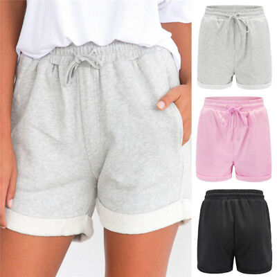 Womens Holiday Lace Up High Waist Pocket Ladies Summer Beach Hot Pants Shorts CR