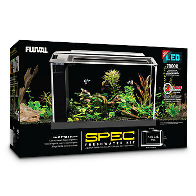 Fluval Spec 19 L - Black Desktop Glass Aquarium LED high Output Light