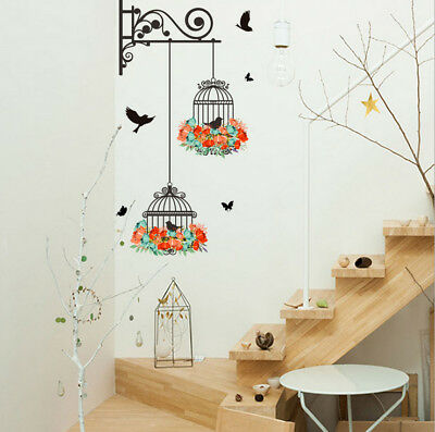 2018 Birdcage Decorative Painting Bedroom Living room TV Wall Stickers Mural New