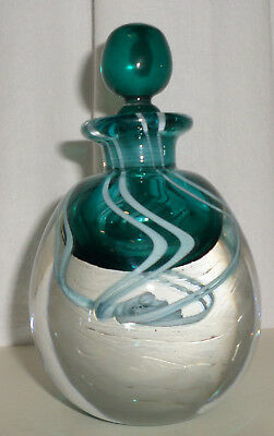 Signed David Wallace Bottle & Stopper  15cm  British  Studio Art Glass