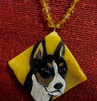Basenji hand painted on gold square wavy pendant/bead/necklace