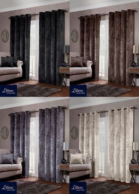 Luxury Crushed Velvet Shimmer Eyelet Ring Top Lined Ready Made Pair Curtains