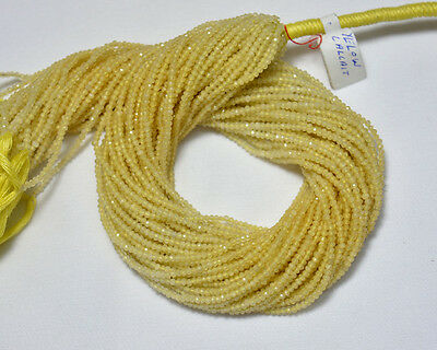 Yellow Calcite 2.10MM Gemstone Faceted Rondelle Beads 12.5 Inch 5 Strands