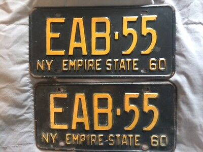 NY 1960 classic yellow on black license plates early vanity DMV clear