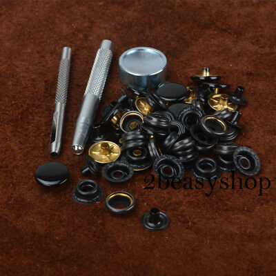Black 15 Sets 15mm Press Studs Kit Snaps Fastener Poppers Leather Craft Buttons