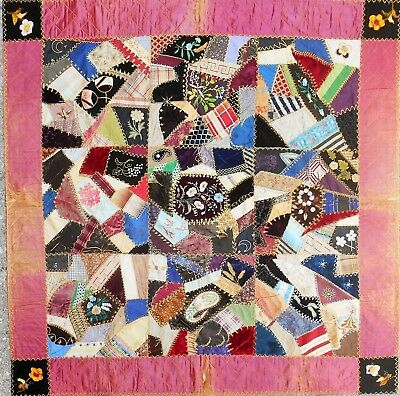 "Stunning! FOLK ART c1890 Childs Crazy QUILT ""53 x 53"" Fancy Stiching & Flowers"