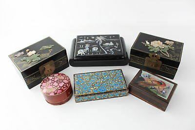 6 x Vintage ORIENTAL Themed Trinket Boxes inc. Mother of Pearl & Papier Mache