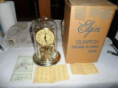 Elgin Anniversary Glass Dome Mantel Clock New In Box With  Paperwork