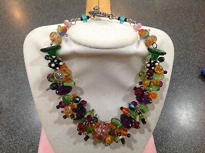 "Gorgeous Art Glass Crystal Multi Colored Beaded Fun 15"" Necklace Toggle Clasp"