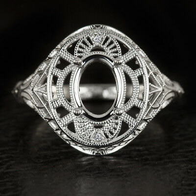 ART DECO FILIGREE 14k WHITE GOLD ANTIQUE OVAL 8mm x 10mm SETTING RING VINTAGE