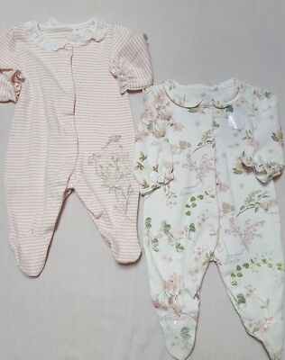 NEW⭐Bnwt NEXT Baby Girl Prem Newborn 9-12 Cotton Ecru Floral Sleepsuits/Babygrow