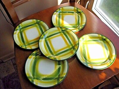 "Vernon Kilns Vernonware Gingham 6.5"" Bread & Butter Plate  Green Yellow LOT 5"