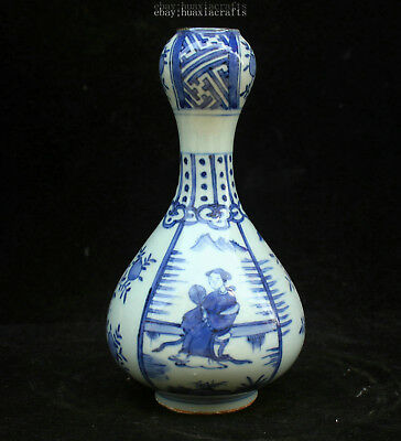 22cm Collect China Old Blue and White Porcelain Pottery Handmade Maid vase HCNG