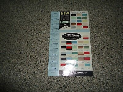 1961 RAMBLER 4 fold brochure showing color options free shipping