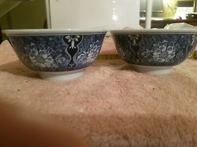 Antique Japanese/Chinese/Asian  Blue and White Porcelain Bowl Set of 2