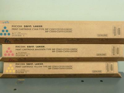 3 Genuine RICOH SAVIN LANIER MP C5501/C9155/LD655C Cyan, Magenta & Yellow