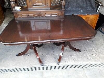 Mahogany Inlaid Regency Style Extending Twin Pedestal Dining Table on Castors