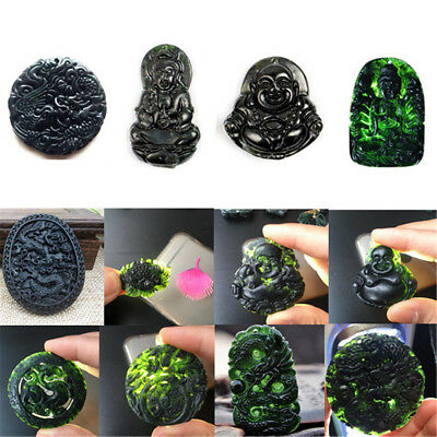 Various Natural Black Green Jade Pendant Buddhism Lucky Amulet Gifts Jewellery