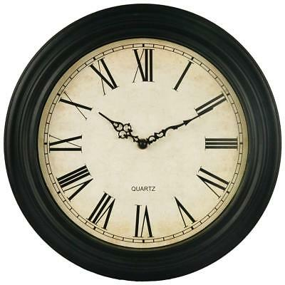 Large Vintage Sttyle Antique Wall Clock Shabby Chic - Black