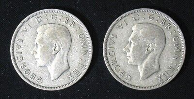 Lot of 2 Great Britain Half 1/2 Crown silver coins 1943 & 1946