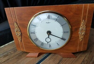 Vintage 1950's French Bentima White Oak 8 Day Mantle Clock (Antique Desk Clock)