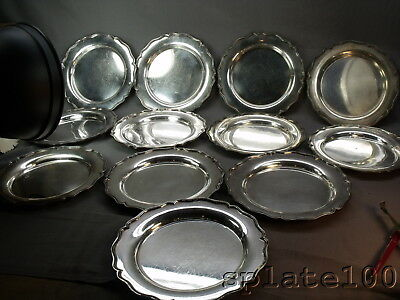 """Set 12 English Sheffield Plate Super Quality Luncheon Plates 7 3/4"""" In Dia"""