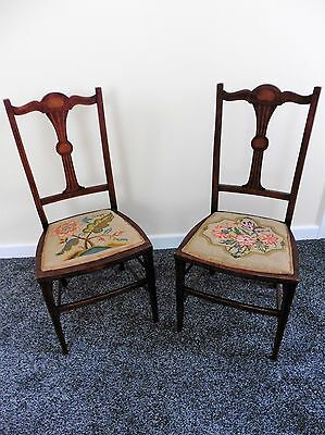 Pair Lovely Rosewood Inlaid Embroidered Bedroom Salon Side Chairs 2x