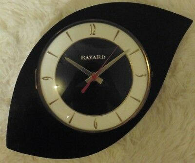 1960s Original Garnier Retro Wall Clock Bayard Tear Drop Eye Vintage French