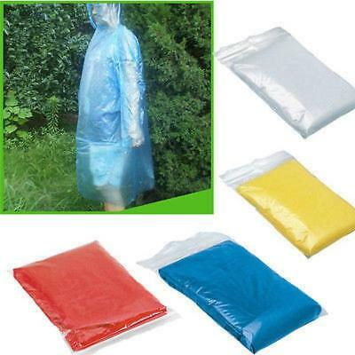 10x Disposable Adult Waterproof Raincoat Poncho Outdoor Hiking Camping Hood