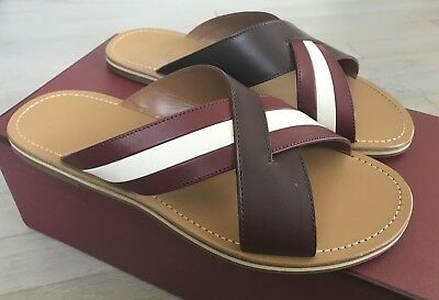 01fd89317a0b 500  Bally Amyn Khaki and Burgundy Leather Sandals size US 9.5 Made in Italy