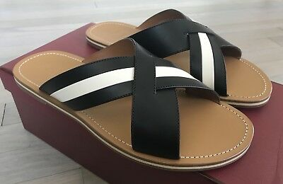 17b5b93bbbe8 500  Bally Amyn Khaki and Black Leather Sandals size US 9.5 Made in Italy