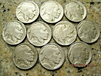 10pc 1913D Ty2 BUFFALO NICKELS VF Details RB2055 49 cent Ship Free  on 3 or more