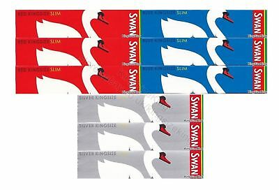 SWAN Kingsize Slim Rolling Papers Blue, Red and Silver King Size Paper Sets