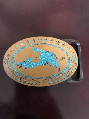 BALD EAGLE Solid Brass & Turquose Belt Buckle by Tech-Ether Guild, Inc. '75