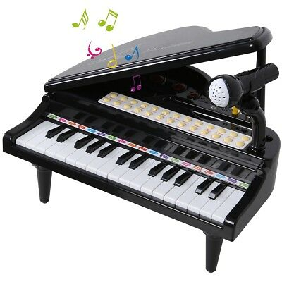 SGILE 31 Keys Musical Piano Toy Kids Electronic Keyboard with Microphone Black