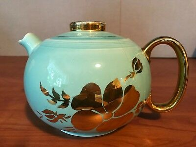 W.S. George Blue with Gold Floral Teapot from 1938,  Art Deco