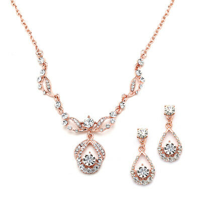 Mariell Rose Gold Crystal Necklace and Earrings Set for Bridal and Bridesmaids