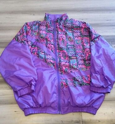 Vintage 80s Crazy All Over Print Neon Windbreaker Jacket Purple Large Flower