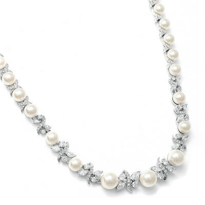 Mariell Ivory Pearl and CZ Bridal Wedding Necklace with Genuine Platinum