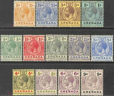 1913-29 Grenada #81 105 Mint Hinged Group of 13 Different George V Definitives