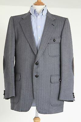 "Men's Vintage Jaeger Blue- Grey/Black Herringbone Tweed Jacket - 42""-44"" Chest"