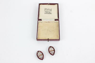 Pair of antique .925 sterling silver & 9ct gold table cut garnet SHOE BUCKLES 8g