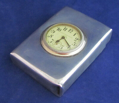 1910 Antique Black Starr & Frost Sterling Silver 8-Day Travel Clock - WORKS!