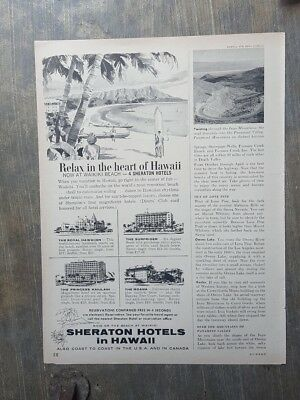 1959 print ad-Relax in the heart of Hawaii-Now at Waikiki Beach-Sheraton Hotels
