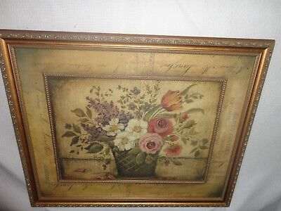 Home Interiors Large '' Antique Flowers  '' Picture  Gorgeous  18.5'' x 22.5''