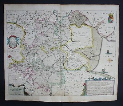 1632 - Fens Cambridge King's Lynn Peterborough map Karte Hondius Atlas engraving